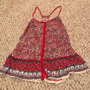 American eagle outfitters red bohemian tank top